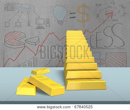 Bullion Stacking In Stairs Shape
