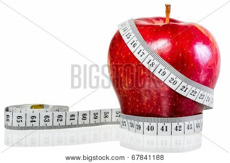 Centimeter Wrapped Around Red Apple On A White Background