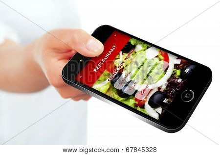Mobile Phone With Takeaway Restaurant Order Screen Isolated Over White