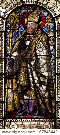 PARIS, FRANCE - NOV 10, 2012: Saint Francis de Sales, stained glass, Saint-Vincent-de-Paul Church (design Jean-Baptiste Lepere, was built during 1824 - 1844) dedicated to Saint Vincent de Paul