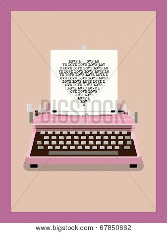 Love Letter - Retro Typewriter Vector Illustration. Heart shape made of repeated word love on sheet of paper in vintage typewriter.