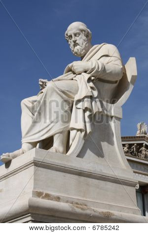 Statue Of Plato In Athens, Greece