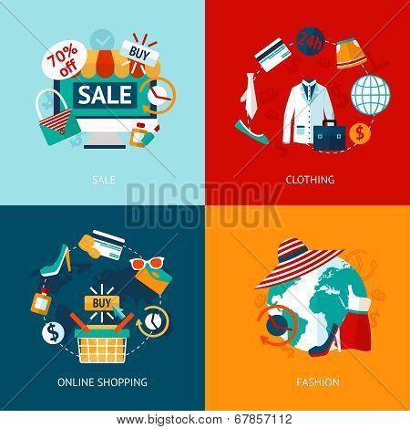 Shopping clothing flat icons set