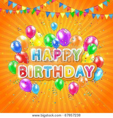 Happy Birthday Orange Background