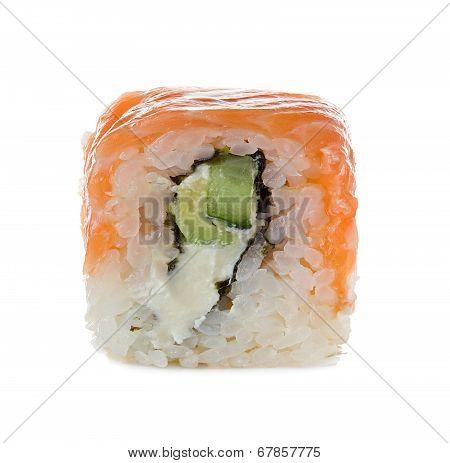 Sushi Isolated On A White Background. Philadelphia Classic. Maki. Salmon, Philadelphia Cheese, Cucum