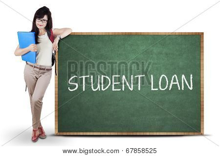 Female Student And Student Loan Text