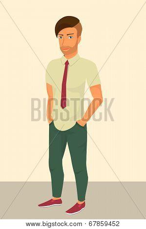 Hipster guy wearing stylish haircut