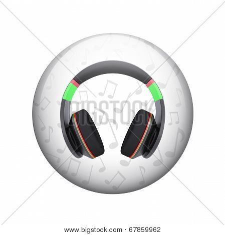 Headphones with music notes