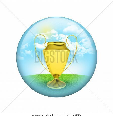Gold cup with nature background