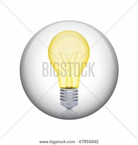 Light bulb. Spherical glossy button
