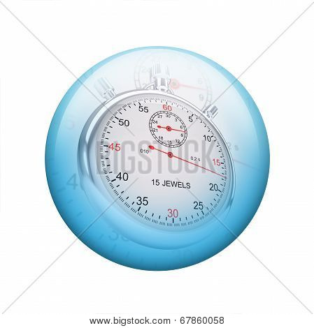 Metal stopwatch. Spherical glossy button