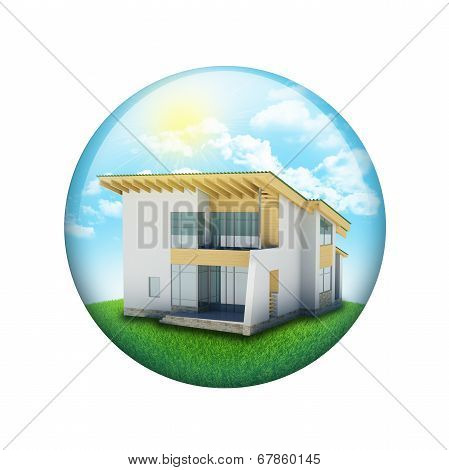 Blue sky, green grass and house