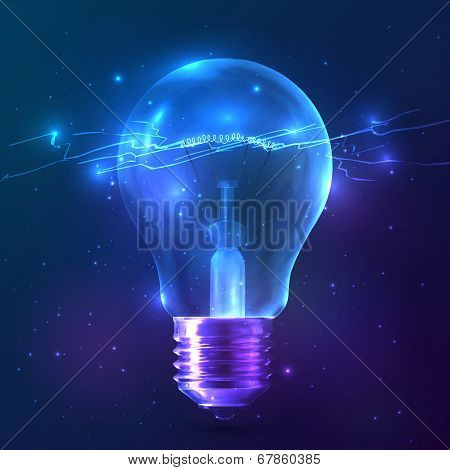 Blue shining bulb with lightning inside