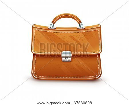 Leather briefcase. Eps10 vector illustration. Isolated on white background