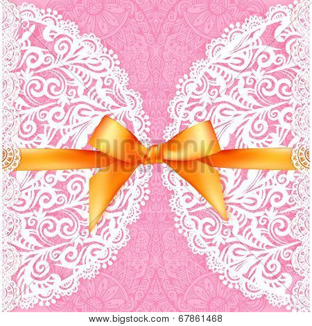 Pink lacy wedding card with orange silky bow