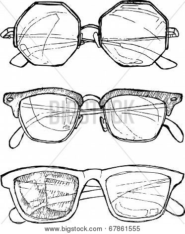 Hand Drawn Vector illustration - Sunglasses. Line Art. Summer Time