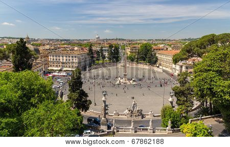 View Of Piazza Del Popolo In Rome, Italy