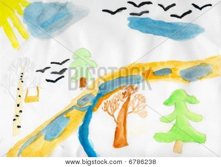 Child Drawing Wooden Landscape