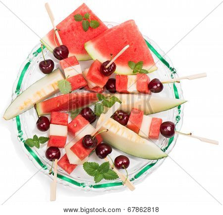 View From Above Of Glass Dish With Mixed Fruit Salad And Cherry