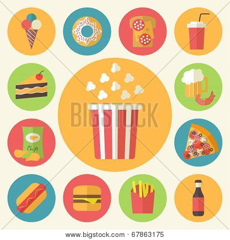 Fast food vector icons set
