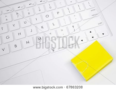 Shopping paper bag on the keyboard