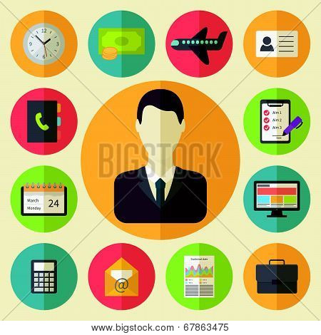 Business and office vector icons set
