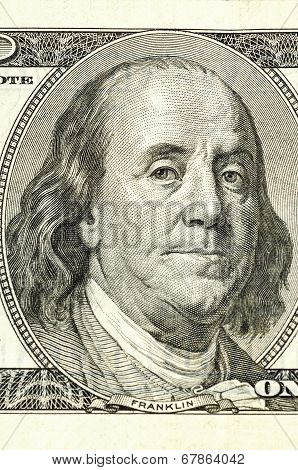 Portrait of Benjamin Franklin on a one hundred dollar bill
