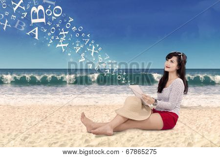 Woman Holding Digital Tablet At Bach