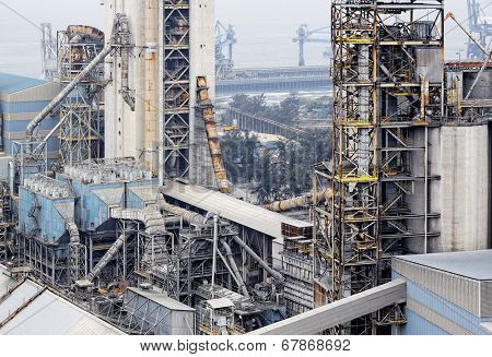 cement factory close up at day