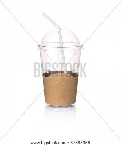 Iced coffee  plastic cup isolated on white background