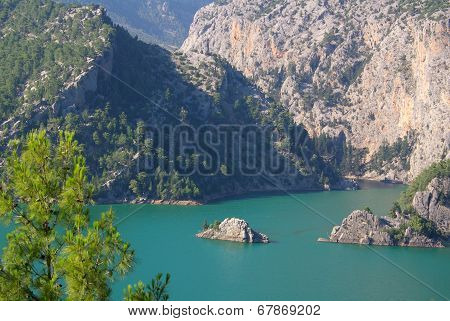 Panorama Oymapinar Dam Reservoir On The River Manavgat