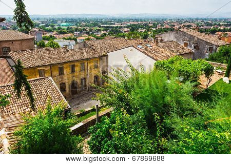 Andscape With Roofs Of Houses In Small Tuscan Town In Province