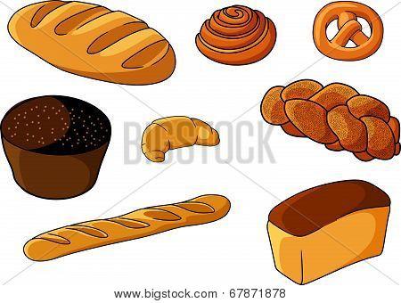 Assorted fresh cartoon bakery set
