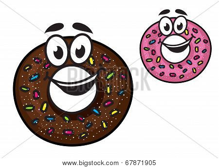 Cute happy doughnuts