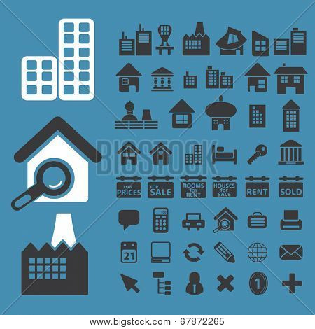 city, real estate, urban, construction icons, signs, symbols set, vector