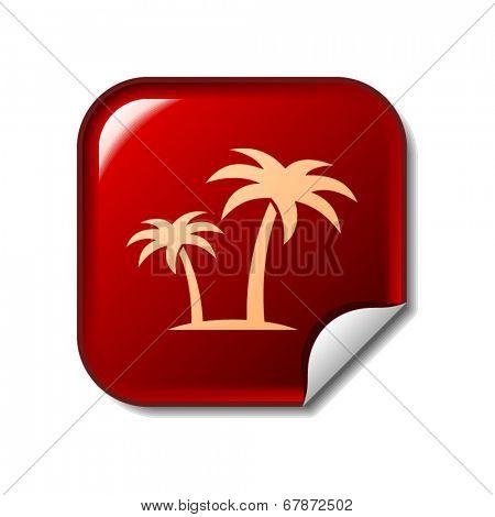 Palms icon on red web sticker