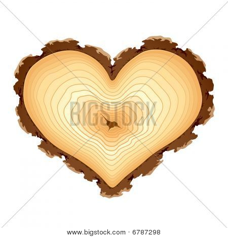 Sección de madera de la forma del corazón. Vector.