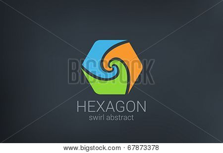 Hexagon Spiral vector logo design. Triple Infinite looped icon. Infinity loop shape Business