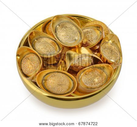 Bowl of gold ingots