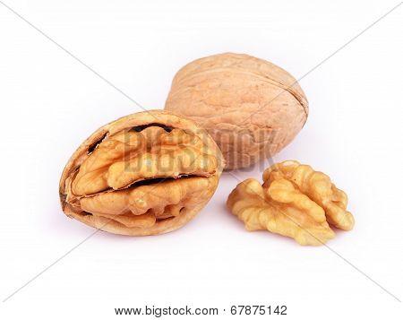 Walnut And Cracked Walnut Isolated On White Background
