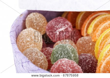 Testy jelly candies in present box close up