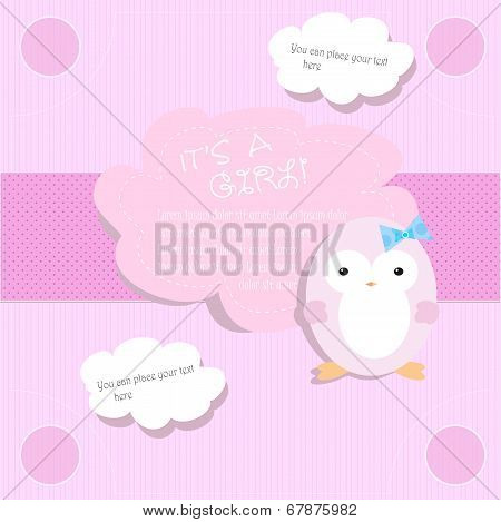 Baby shower for girl in pink tones with penguin
