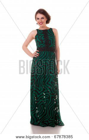 Beautiful Woman In Green Dress Ful Body