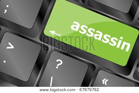 Assassin Word On Computer Pc Keyboard Key