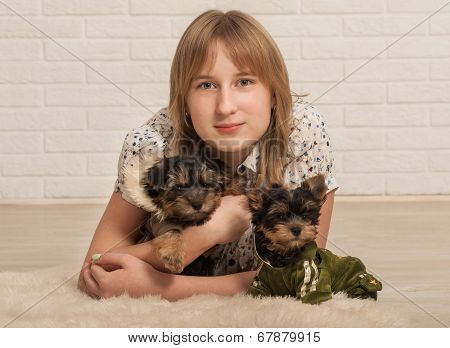 Beautiful girl and two dogs