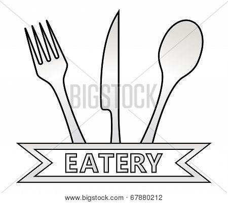 metal Eatery Symbol On White Background
