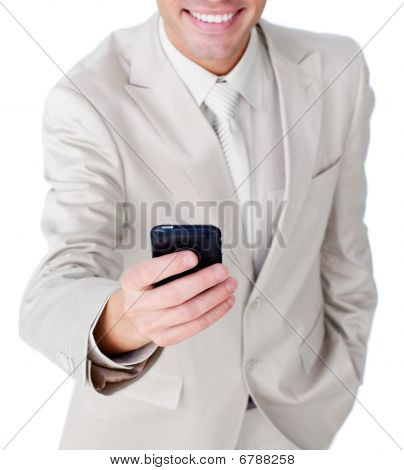 Close-up Of A Businessman Sending A Text