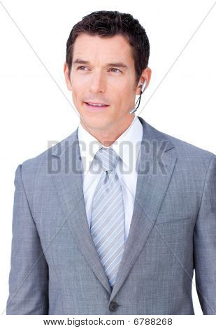 Self-assured Male Executive With Headset On