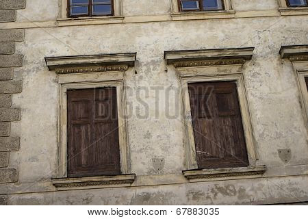 Old Windows Downtown Of Prague