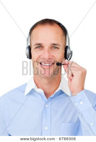 Self-assured Mature Businessman Using Headset